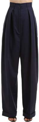 Nina Ricci High Waist Pleated Wool & Cotton Pants