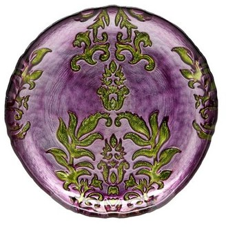 "Red Pomegranate DAMASK 6.5"" PURPLE GREEN CANAPE PLATE"