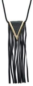 Natasha Faux Leather Long Tassel Pendant Necklace