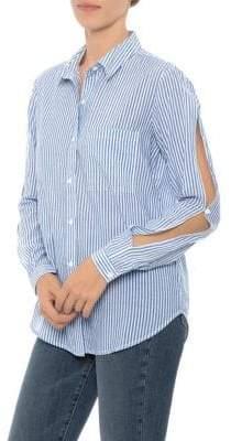 Joe's Jeans Joyce Striped Cutout-Sleeve Shirt