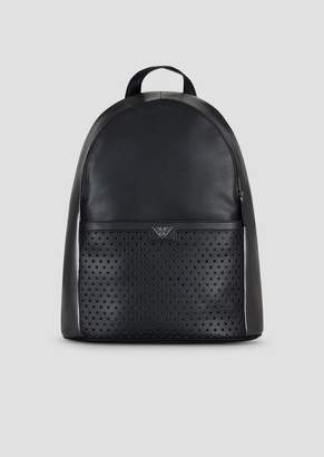 Emporio Armani Backpack In Printed Boarded Leather With Shimmer-Effect  Piercing 5ada6f094496d