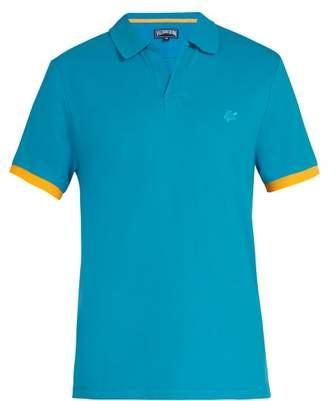 Vilebrequin Logo Embroidered Cotton Pique Polo Shirt - Mens - Blue
