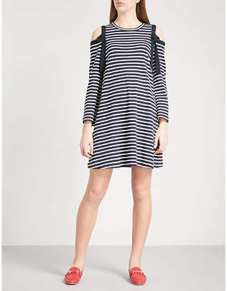 Claudie Pierlot Cold-shoulder striped stretch-cotton dress