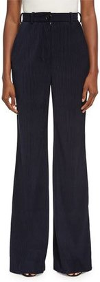 Acne Studios Tessel Pinstripe Corduroy High-Waist Flare Pants, Navy $430 thestylecure.com