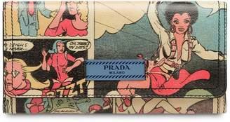 Prada Comics print continental wallet