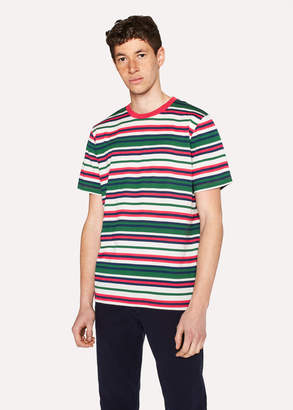 Paul Smith Men's Dark Green And Red Stripe T-Shirt