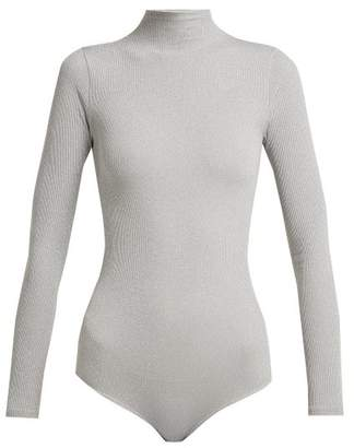 Wolford Joan Metallic Ribbed Knit Body - Womens - Grey Silver