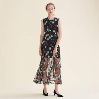Maje Long dress with all-over embroidery