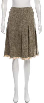 Oscar de la Renta Pleated Tweed Skirt w/ Tags