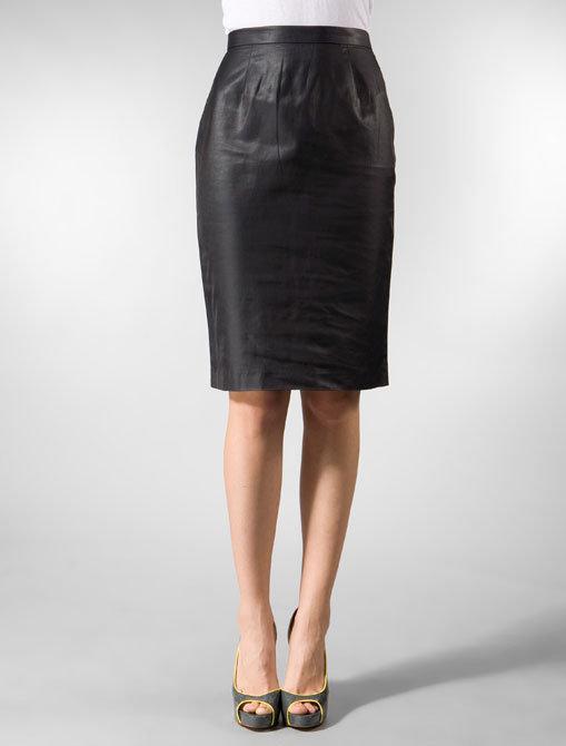 Built by Wendy Shiny Coated Poplin Pencil Skirt
