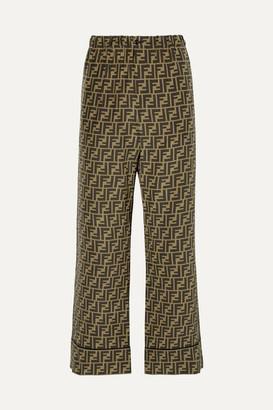 Fendi Cropped Printed Silk-satin Wide-leg Pants - Brown