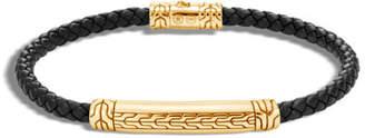 John Hardy Men's Classic Chain 18k Gold & Leather Bracelet, Size M