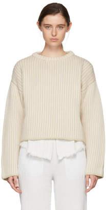 Raquel Allegra Beige and Off-White Boxy Knit Pullover