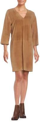 Vince Women's Suede V-Neck Shift Dress