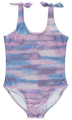 George Purple Iridescent Foil Print Swimsuit