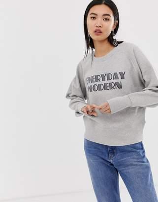 Selected slogan crop sweatshirt