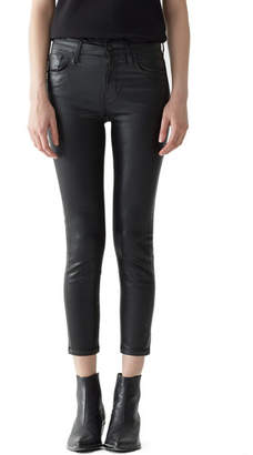 A Gold E AGOLDE Sophie High-Rise Skinny Leatherette Cropped Jeans