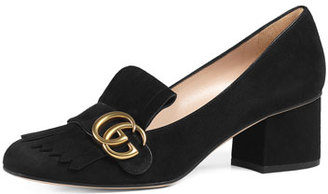 Gucci Marmont Fringe Suede 55mm Loafer, Black $750 thestylecure.com
