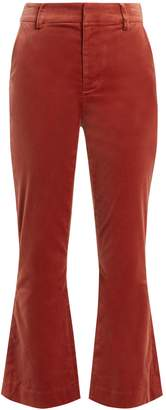 Frame Cropped kick-flare velvet trousers