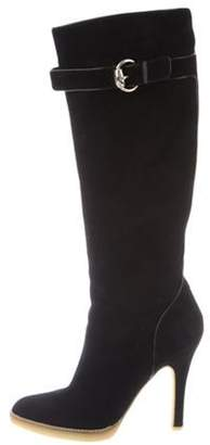Gucci Round-Toe Suede Boots Black Round-Toe Suede Boots