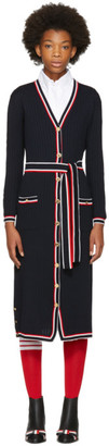 Thom Browne Navy Tipping Stripe Rib Stitch Cardigan Dress $1,690 thestylecure.com