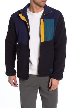 Herschel Colorblock Faux Shearling Zip Front Fleece Jacket