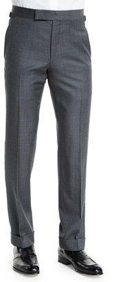 TOM FORD O'Connor Base Mixed Sharkskin Trousers, Light Gray $950 thestylecure.com