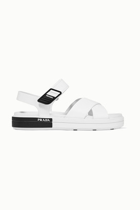 Prada Logo-embossed Rubber-trimmed Leather Sandals - White