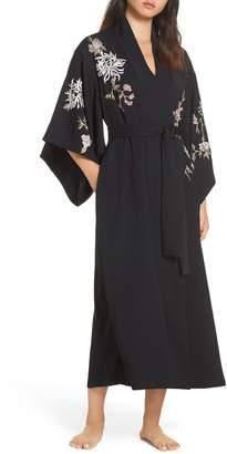 Natori Claudette Embroidered Satin Robe