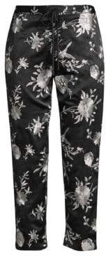 Natori Crop Floral-Embroidered Drawstring Pants
