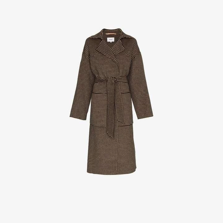 Nanushka Alamo houndstooth wool blend belted coat