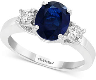 Effy Gemstone Bridal by Sapphire (1-9/10 ct. t.w.) & Diamond (3/8 ct. t.w.) Engagement Ring in 18k White Gold
