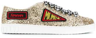 Miu Miu patch embroidered glittered sneakers