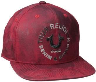 True Religion Men's Crackle Flat Brim Ball Cp