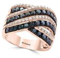 Effy Caviar Diamond, Black Diamond and 14K Rose Gold Statement Ring