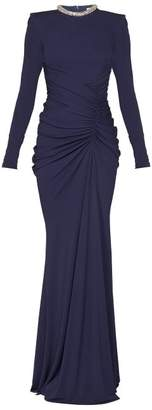 Alexander McQueen Crystal Embellished Gathered Gown - Womens - Navy