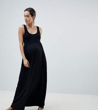 Asos Design Maternity Mixed Fabric Strappy Maxi Dress