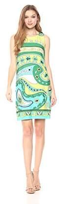 Nicole Miller Studio Women's Sleeveless Printed Matte Jersey Shift Dress
