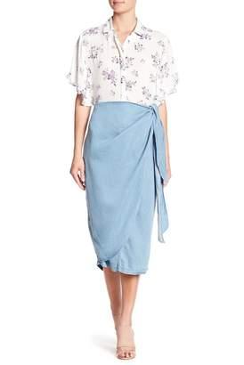 CODEXMODE Knot Front Chambray Skirt