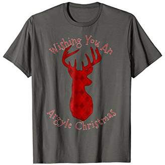 Wishing You An Argyle Christmas Red Plaid Reindeer T-shirt