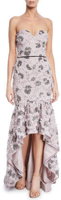 Aidan Mattox Strapless Petal Embroidered High-Low Gown w/ Flounce Hem