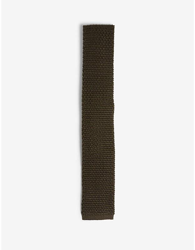 Compact knit square-cut silk tie