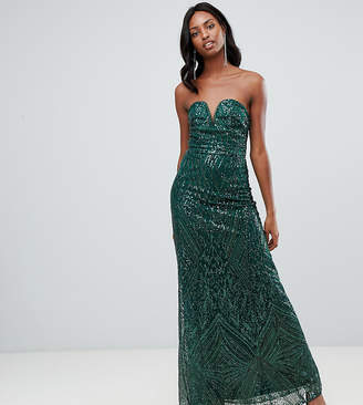 c1067302635 TFNC Tall Tall patterned sequin bandeau maxi dress in green