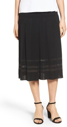 Ming Wang Pleated Midi Skirt