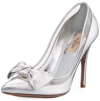 Valentino Dolly Bow Metallic Leather Pumps