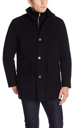 Cole Haan Men's Wool Plush Car Coat With Attached Bib