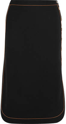 Vanessa Seward Contrast-piped Stretch-wool Crepe Skirt - Black