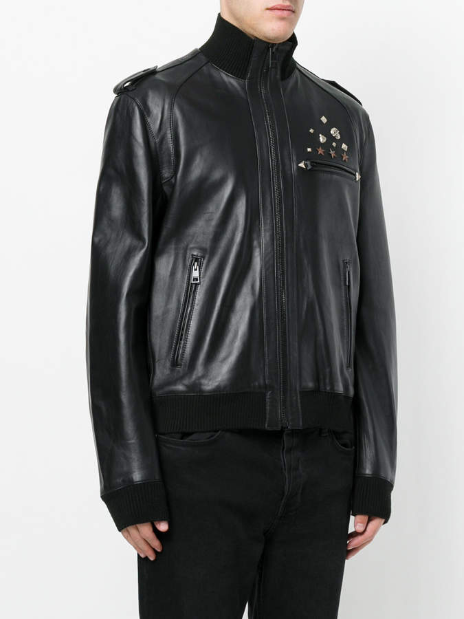 Just Cavalli studded zipped jacket