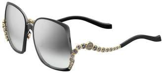 Elie Saab Square Titanium Sunglasses w/ Crystal Wave Arms