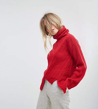 Oneon Hand Knitted Asymmetric High Neck Jumper
